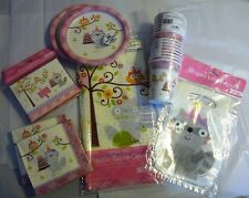Lot Happi Woodland raccoon baby girl Birthday Party Supplies tableware serves 16