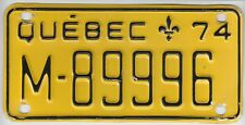 1974 Quebec Canada Motorcycle License Plate Plaque Immatriculation Moto M-89996