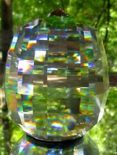 Gorham Cut Lead Crystal Large Mulit-faceted Rainbow Reflective Paperweight Label