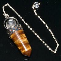 56 MM Tiger Eye Crystal Beaded  Dowsing Pendulum With Chain Reiki Healing Energy