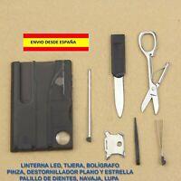 TARJETA DE SUPERVIVENCIA MULTIFUNCIÓN 10 EN 1 CAMPING COCHE BOLSO MOCHILA MOTO