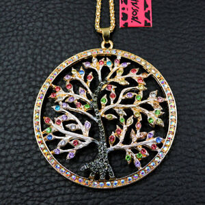 Betsey Johnson Colorful Crystal Tree Pendant Sweater Chain Women's Necklace