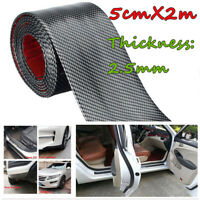 5CM 2M Car Sticker Carbon Fiber Rubber DIY Door Sill Protector Edge Guard Strip