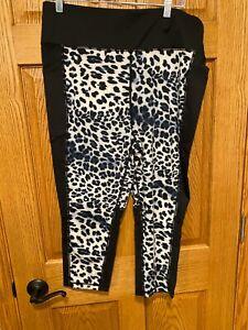 LuLaRoe Rise Fearless activewear pants Black & Blue animal print - 2XL - NWT!!