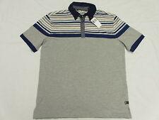 $59 NWT NEW Mens Sean John Blocker Striped Polo Shirt Grey Urban Size S L790