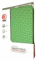 "NEW RADIOSHACK UNIVERSAL TABLET FOLIO CASE 9"" 10.1"" GREEN WHITE Free Shipping"