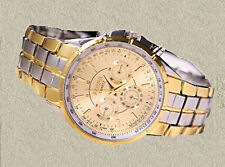 Rosra Luxury Date Gold Dial Stainless Steel Analog Quartz Men's Watch