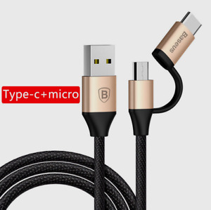Baseus USB Data Type-C/micro USB 2in1 Fast Charging Cable for iOS & Android Gold