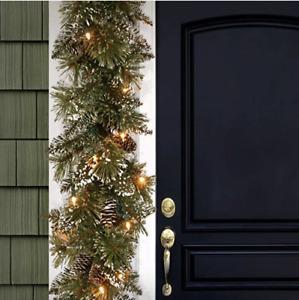 National Tree Company 6ft. Glittery Bristle Pine LED Garland -New!