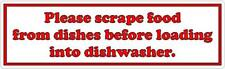 Please scrape food from dishes before loading into dishwasher - Vinyl Sticker