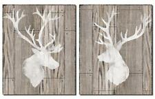 "Deer Silhouettes Pictures Home Decor Faux Wood 11 x 14 "" Rustic Lodge Cabin New"