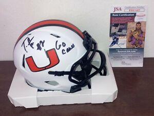 Tyrique Stevenson Miami Hurricanes Lunar Eclipse Autographed Mini Helmet JSA COA