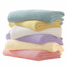 100% Cotton Cellular Extra Soft Baby Unisex Blanket For Cot Pram Moses Basket