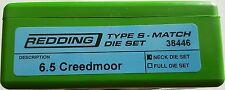 38446 REDDING TYPE-S MATCH BUSHING NECK DIE SET - 6.5 CREEDMOOR - BRAND NEW