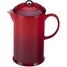 Le Creuset 27 oz French Press Ceramic Coffee Maker Red New in Box Original Owner