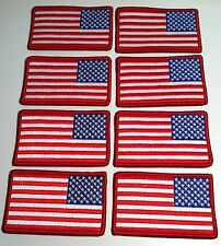 8 United States LEFT Flag Iron On Patch USA MILITARY Emblem Red Border