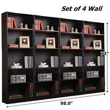 5-Shelf Bookcase Bookshelf Set of 4 Wall Black Adjustable Shelves