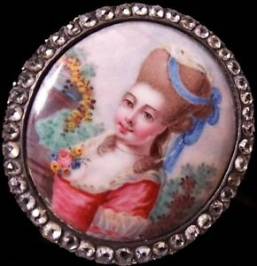 Rare Antique GEORGIAN Silver Jargoon Paste Enamel Portrait Miniature Brooch 1760