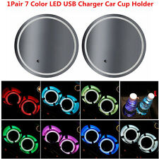 7 Colors LED Light Cup Holder Bottom Pad Cover Trim Atmosphere Lamp For All Car