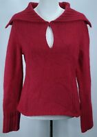 Woman's Express Red Merino Wool/Angora Keyhole Collared L/S Sweater - Sz L