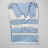 Vineyard Vines Men's Blue Stripe Polo Golf Shirt Small Polyester