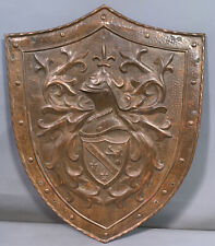 Lg Vintage Copper Relief Old Medieval Knight Rampant Lion Castle Wall Shield