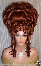 Drag Queen Wig Big Up Do Auburn Red French Twist Curly Bangs Tendrils Curls
