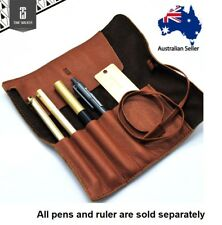 Handmade Genuine Leather Pen Pencil Roll Up Case Holder Box Storage Pouch Gift