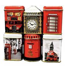 English Tea 6 Mini Caddies London Iconic Bus Telephone Box Big Ben Souvenir Gift