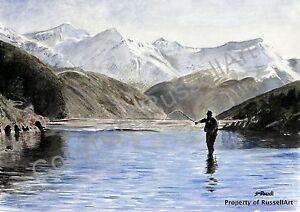 ART PRINT of watercolour painting Scotland Scottish Fishing A4 A3 A2 RussellArt