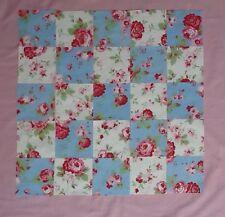 Cath Kidston Fabric Material 25 Patchwork Squares 10x10cm Blue/White Rose Quilt