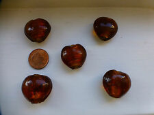 10 large glass lamp work heart beads bronze brown Craft, jewellery,necklace, NEW