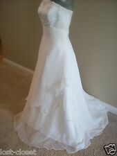 Eden Ivory Chiffon Strapless Empire Waist Wedding Gown Bridal Dress size 4 6