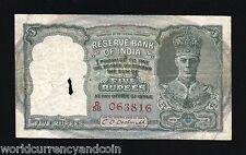INDIA 5 RUPEES 23B 1943 *RED SERIAL* KING GEORGE VI DEER RARE BRITISH UK GB NOTE