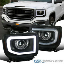 For GMC 14-17 Sierra 1500 2500HD 3500HD LED DRL+Signal Black Projector Headlight
