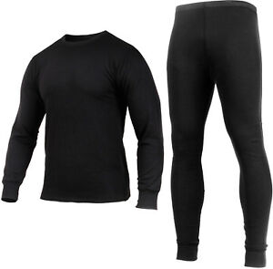 Black Midweight Knit Thermals Lightweight Breathable Long Johns Pants Shirt