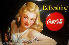 COCA COLA/COKE,PIN-UP GIRL: EMBOSSED (3D) METAL SIGN, 30X20cm/ 12X8 INCHES