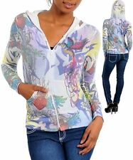 White Women's Stretch Top Hoodie wTattoo Print and Rhinestones Size Small (3-5)