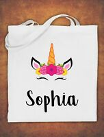 Kids Personalised Any Name Unicorn Girls Tote Bag children's Cotton White