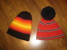 Lot of 2 Vtg 70s 80s Pom MOD Smiley Stripe Knit beanie Ski Snow Hat Cap toboggan