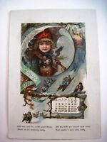 1891 Calendar w/ 12 Pages of Great Colored Graphics  *