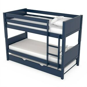 Luca Kids Bunk Bed with Pull Out Trundle in Navy Blue