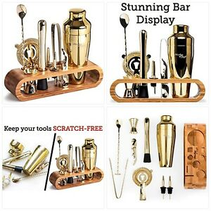 Bartender Kit 10-Piece Bar Tool Set with Stylish Bamboo Stand   Perfect Home New
