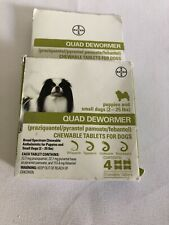 Bayer Quad Dewormer SMALL Dogs (2-25lbs) 4 Chewable Tablets Exp 2022