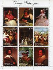 Tajikistan 1999 MNH Diego Velazquez Spanish Painter 9v M/S Art Paintings Stamps