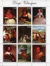 Tajikistan 1999 MNH Diego Velazquez Spanish Painter 9v M/S Art Paintings Stamps