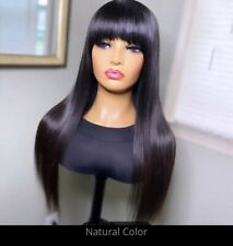 💯Human Hair 24inches Peruvian Fringe Wig With Bang