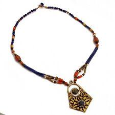 "Coral Lapis Brass  Necklace 17"" Tibetan Handmade Bohemian Nepal NB51"