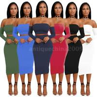 Women 2 Piece Bodycon Two Piece Lace Up Crop Top and Skirt Set  Dress Party I4G2
