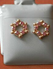 14K Gold Filled Round PINK Crystal Studs Earrings / Teenager Children / USA